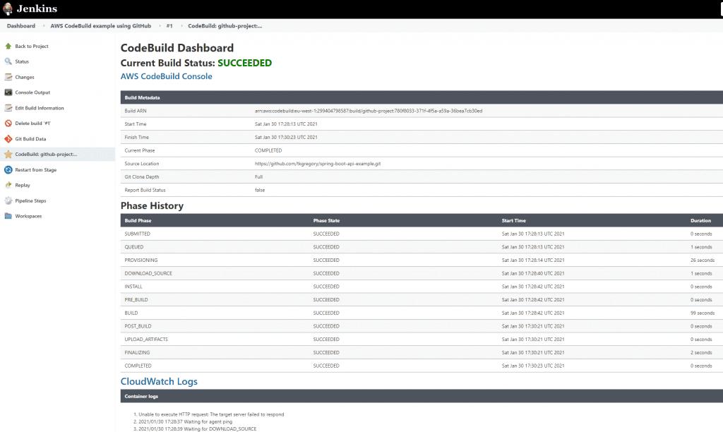 The Jenkins CodeBuild dashboard